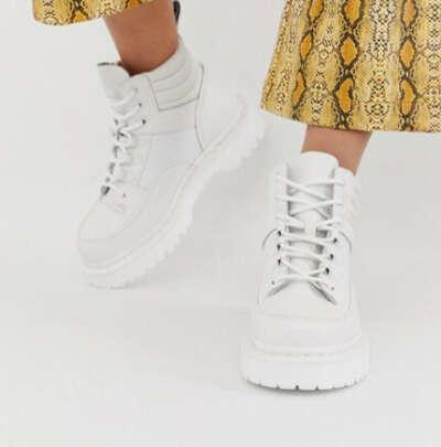 Белые кожаные ботинки на плоской подошве Dr Martens Zuma