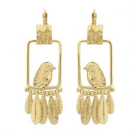 TARATATA | Купить Серьги Picolo, золотистые птички и перья