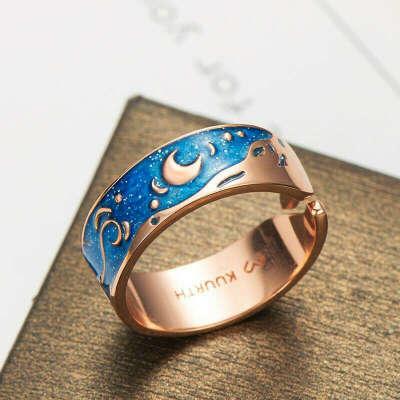 Ван Гог - звездная ночь - кольцо из розового золота