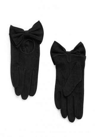 Перчатки из замши с бантом