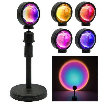 Лампа проектор заката 4 цвета Sunset Lamp / Атмосферный светильник / Настольная LED лампа проектор заката / Светодиодный ночник / Подсветка для съемок фото и видео дома и в студии / TikTok лампа / Креативная закатная настольная лампа фонарь