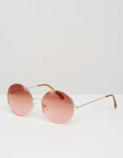 Круглые солнцезащитные очки с розовыми стеклами