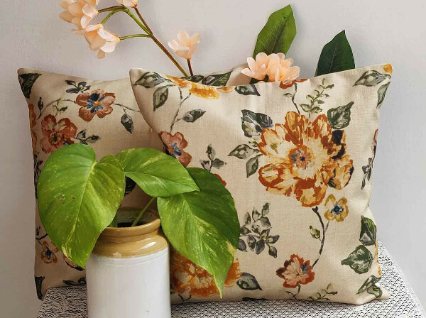 Earthy Florals Cotton Cushion Cover – Set of 2