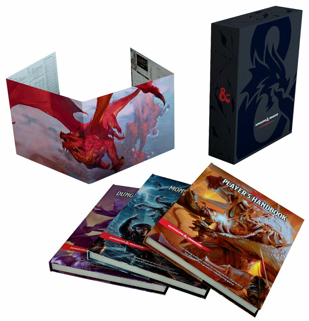 Dungeons and Dragons Core Rulebooks Gift Set (Special Foil Covers Edition with Slipcase, Player's Handbook, Dungeon Master's Guide, Monster Manual, DM Screen)