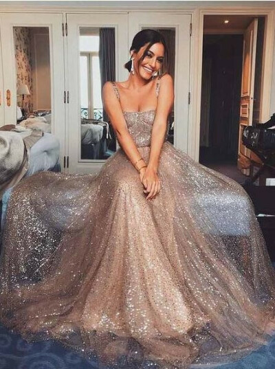 Sparkly Gold Sequin Suqare A-line Cheap Evening Prom Dresses, Cheap Custom Sweet 16 Dresses, 18476