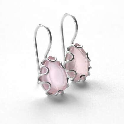 Серьги 'Rose' серебряные с розовым кварцем