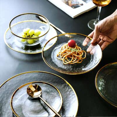 1197.19руб. 14% СКИДКА|Скандинавский стиль, Золотая оправа, стеклянная тарелка, прозрачная тарелка для десерта, Западная тарелка, креативная тарелка для салата, фруктовая тарелка, столовая посуда, наборы|Блюдца и тарелки|   | АлиЭкспресс
