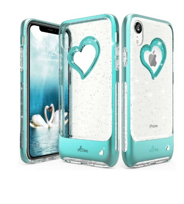 iPhone XR Glitter Heart Case vLove Glitter