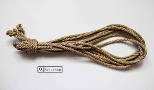 Классическая веревка для шибари джутовая обработанная натуральная