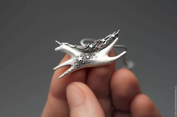 Звёздный Единорог - кулон из серебра со звёздами – купить в интернет-магазине на Ярмарке Мастеров с доставкой