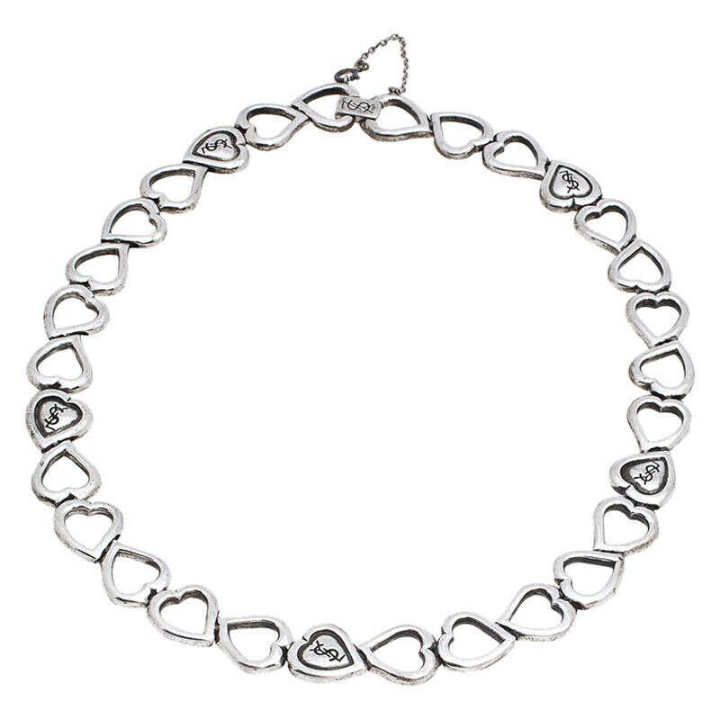 Saint Laurent Paris Sterling Silver Heart-Shaped Chain Necklace