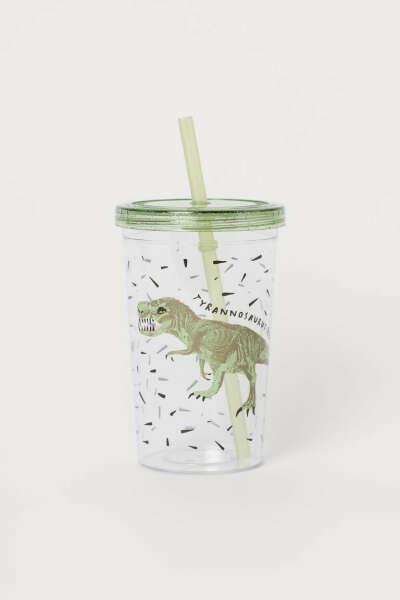 Пластиковый стакан с трубочкой Тираннозавр рекс