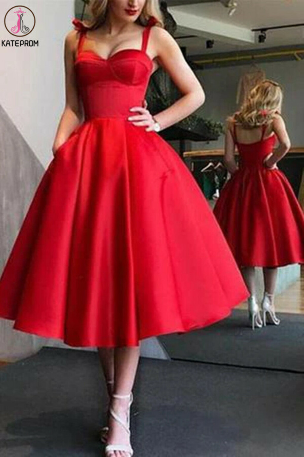 Kateprom A-Line Red Spaghetti Straps Tea-Length Satin Prom Homecoming Dresses with Pocket KPH0541