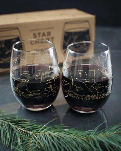 Night Sky Star Chart Summer & Winter Stemless Wine Glasses (Pair)