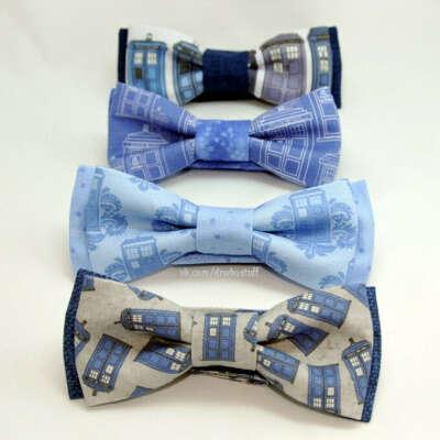 Уникальные, авторские галстуки бабочки на липучке c Тардис