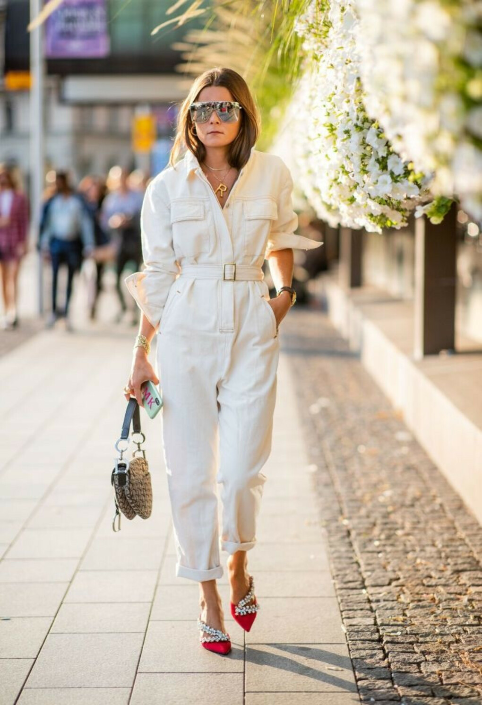 Rikke Krefting wearing white overall seen during Stockholm Runway...