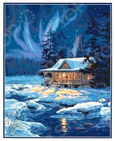 Набор для рисования по номерам «Залитая лунным светом хижина»