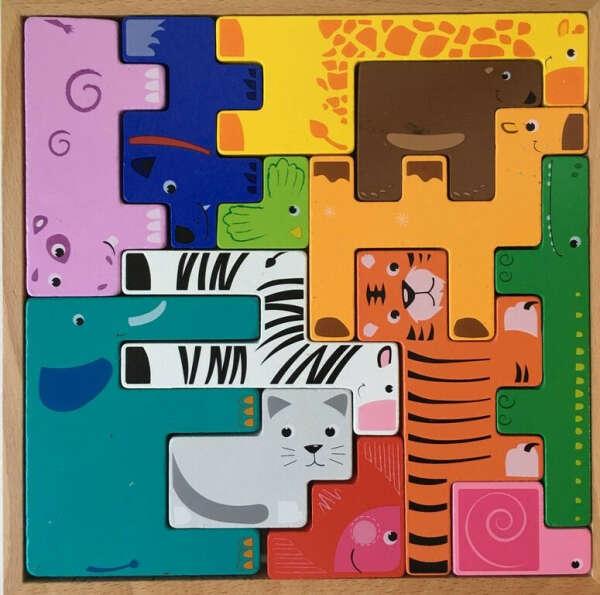 BeeZee Toys Набор из геометрических фигурок деревянных животных Зоопазл, тетрис деревянный пазл головоломка зверята развивающая игра для детей
