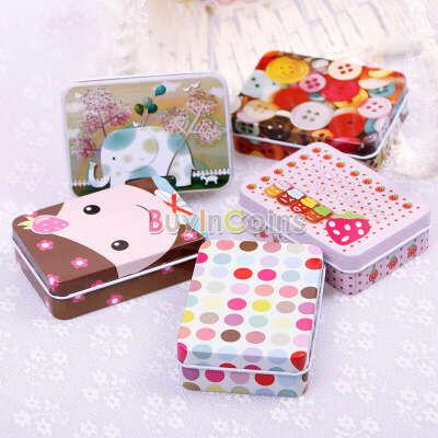 Cute Fashion Rectangular Iron Card Decor Tin Storage Bag Small Jewelry Box Gift