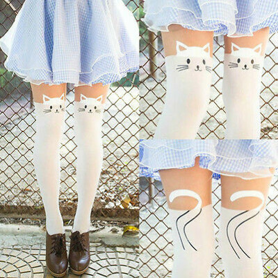 Sexy Women Cat Tattoo Sock Black&White Sheer Pantyhose Stockings Tights Leggings