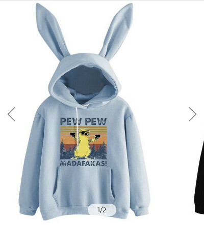Pew Pew Chicken Graphic Rabbit Ear Hooded Hoodies