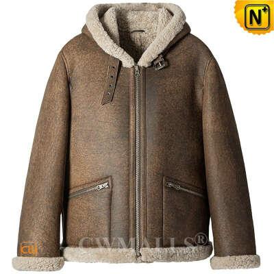 Bomber Jacket   Old School Hooded Sheepskin Aviator Jacket CW828668   CWMALLS®
