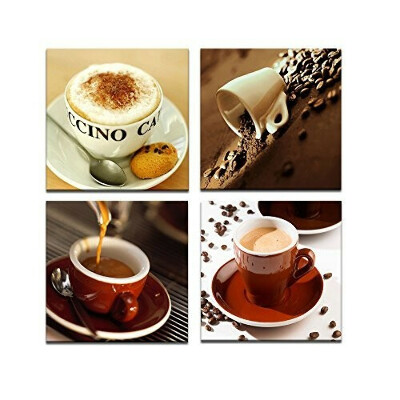 Visual Art Decor Canvas Wall Art Coffee Cups Pictures Canvas Prints Ready to Hang for Modern Coffee Bar Shop Room Home…