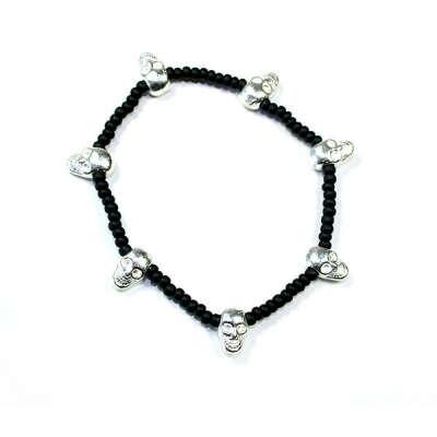 Silver Multiple Skull Stretch Bracelet