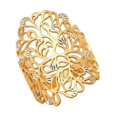 Кольцо из золочёного серебра с алмазной гранью арт. 93010504
