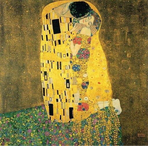 Репродукция картины Густава Климта, Поцелуй