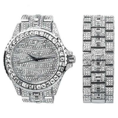 Silver Ultra Bling Master Watch/Bracelet Set