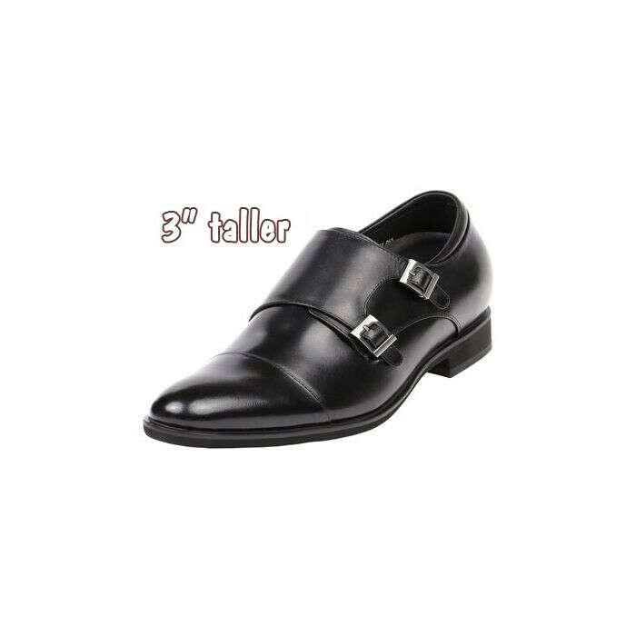 "Monk Strap Dress Shoe Cap Toe 3"" Tall, GKD71"