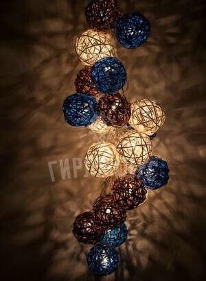 Гирлянда из ротанговых шаров 220v