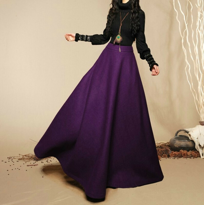 Шерстяная длинная юбка