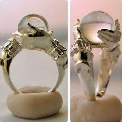 Кольцо руки с хрустальным шаром