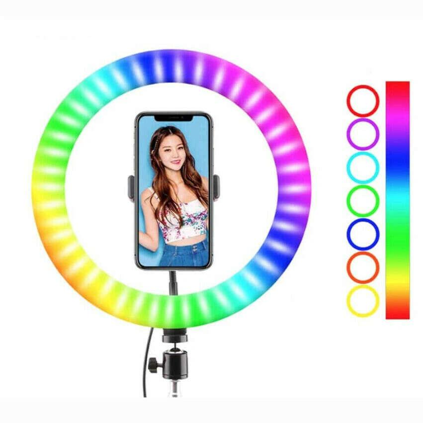 Разноцветная кольцевая лампа