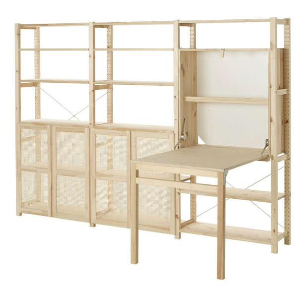 ИВАР 3 секции д/хранения+складной столик, сосна259x30x179 см