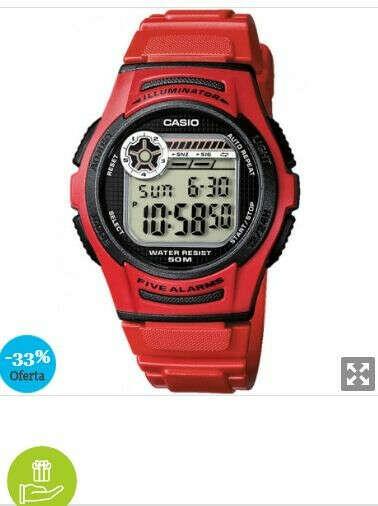Reloj Casio W-213-4A Resina correa color: Rojo Dial LCD Digital Unisex