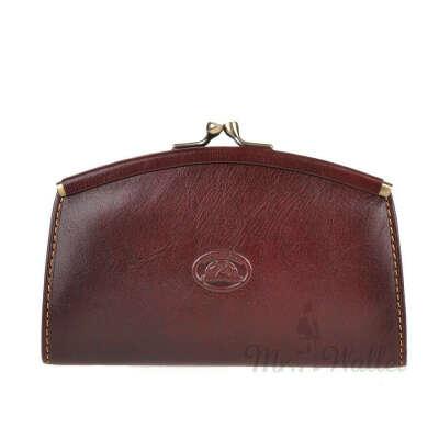 """Маленький кожаный кошелек с монетницей (застежка """"Поцелуйчик""""). Цвет - коричневый/изумрудный"""