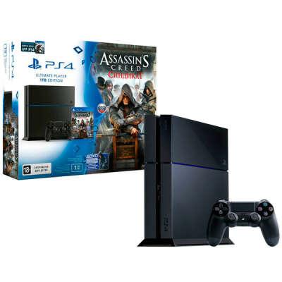 Игровая приставка PS4 Sony 1Tb+Watch_Dogs+Assassin's Creed Синд. (CUH-1208B)