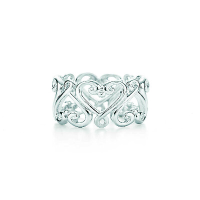 Tiffany & Co. -  Paloma's Venezia Goldoni heart band ring in sterling silver.