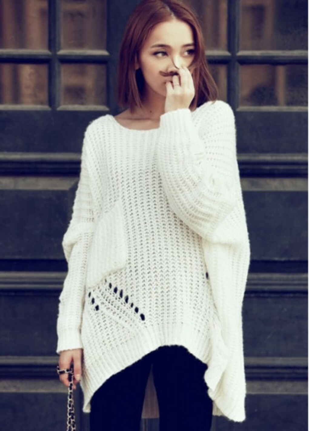 Fashion White High Low Hem Slouchy Sweater with Round Neck