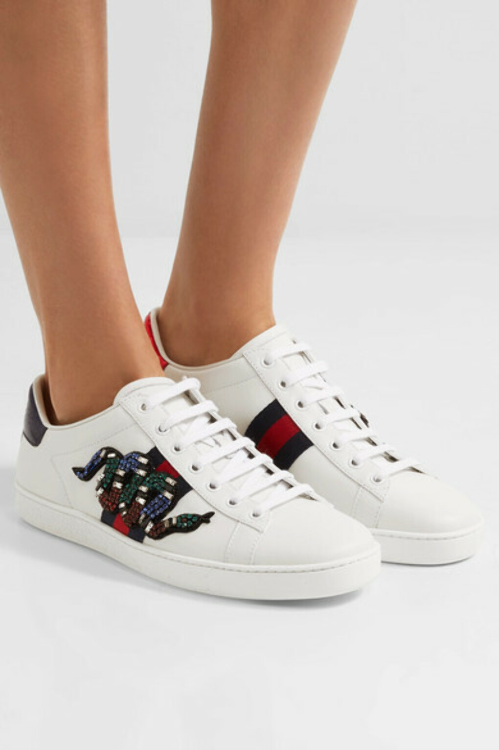 Gucci - Snake-trimmed embellished leather sneakers