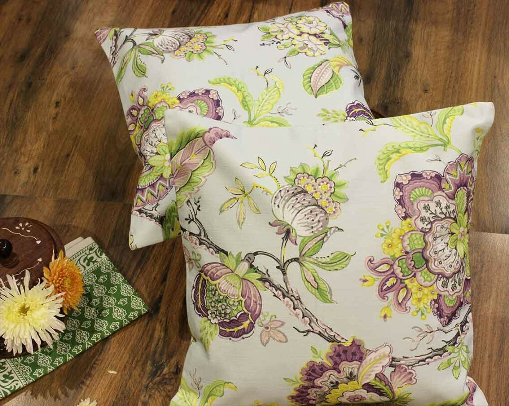 Ornamental Florals Cotton Cushion Covers – Set of 2