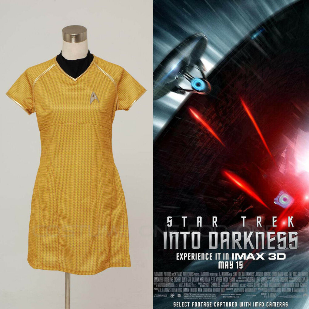 Star Trek Into Darkness Star Fleet Costume Dress Cosplay Yellow Uniform