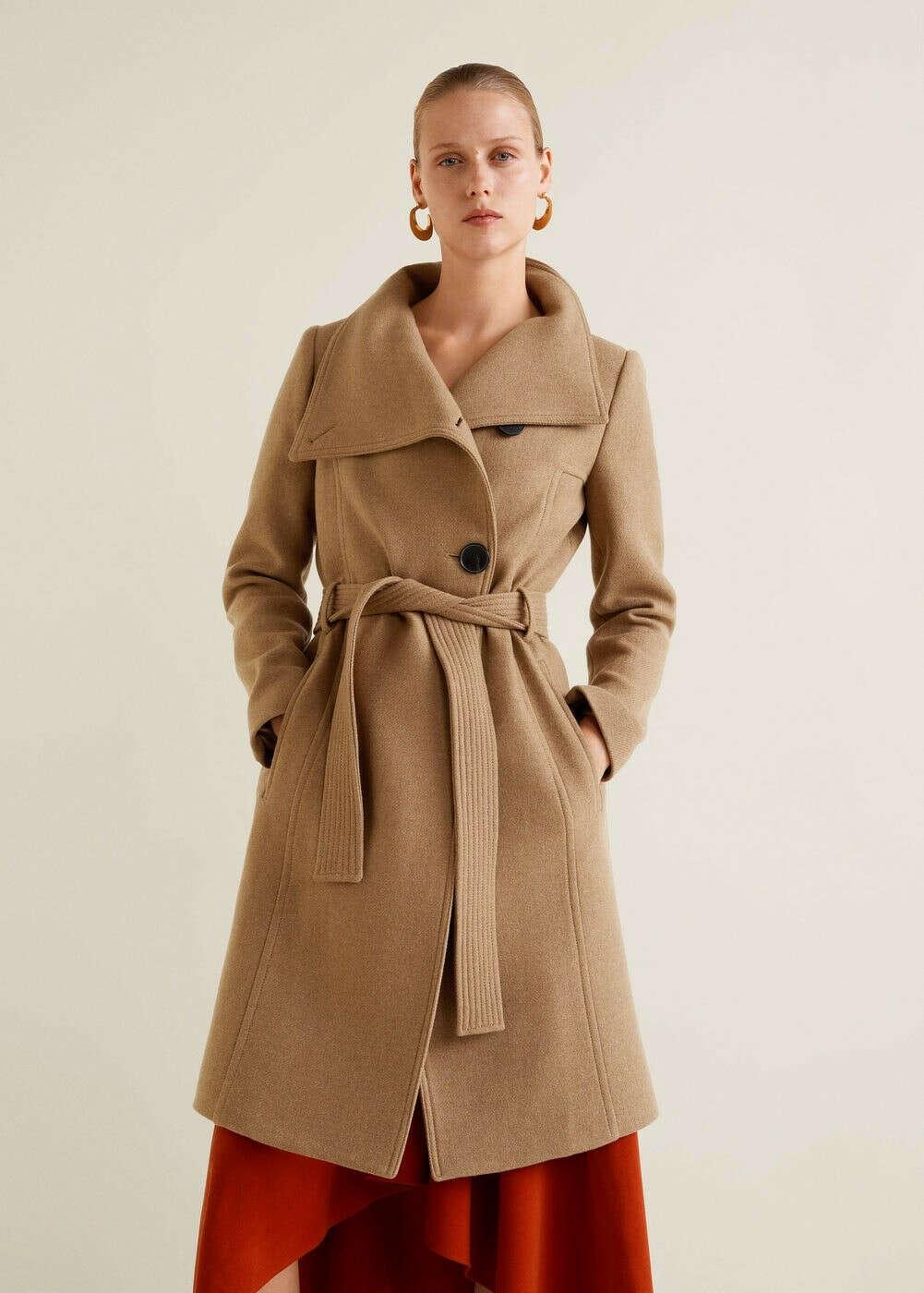 Полушерстяное пальто с поясом - Пальто    - Женская   MANGO МАНГО Россия (Российская Федерация)