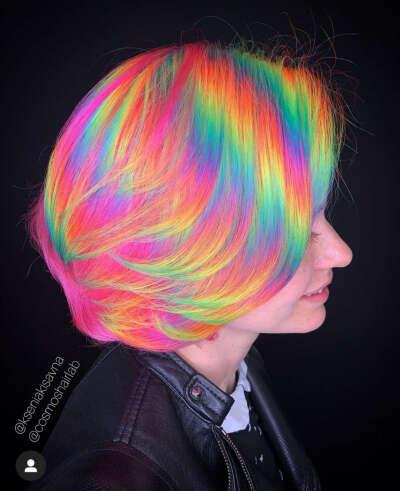 Окрашивание волос радугой