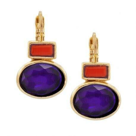 TARATATA | Купить Серьги Face a face, с фиолетовыми кристаллами