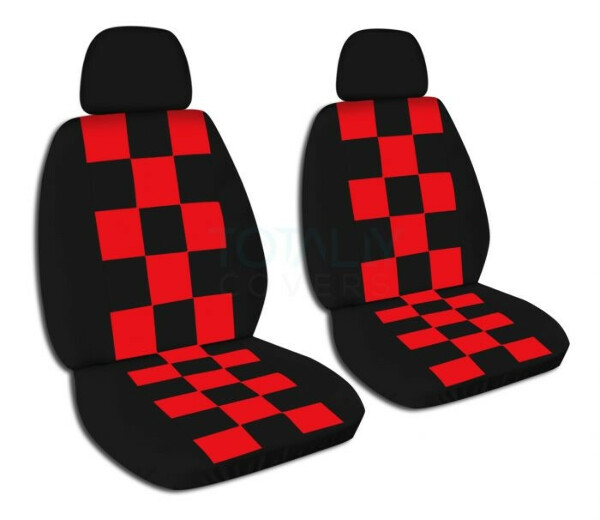 Front Checkered Car Seat Covers with 2 Separate Headrest Covers