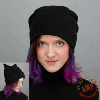 Черная шапка-трансформер с ушками
